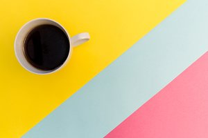 Coffee cup yellow pink
