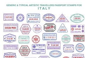 Italy visa passport stamps set