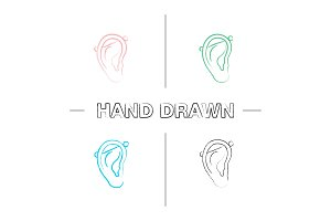 Industrial piercing hand drawn icons set
