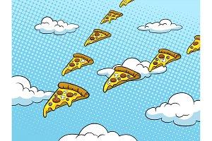 Pizza slice like bird pop art vector illustration