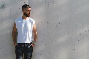 bearded man in a white blank t-shirt