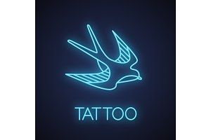 Swallow bird neon light icon