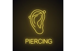 Industrial piercing neon light icon
