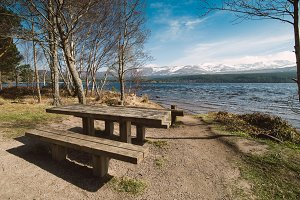 Table and bench on the shore of the