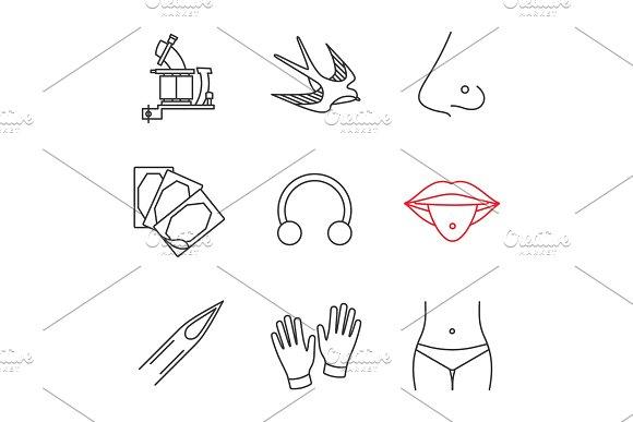 Tattoo studio linear icons set