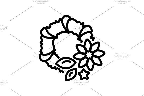 Web line icon. Wreath black on white
