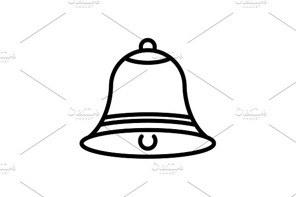 Web line icon. Bell black on white  in Icons