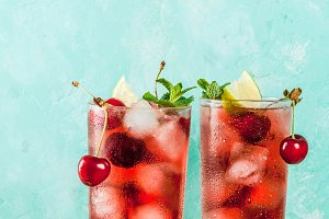 Cherry cola lemonade or mojito