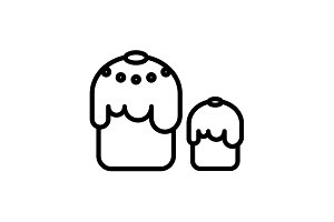 Web line icon. Easter cakes black