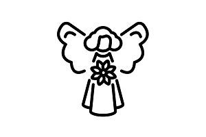Web line icon. Angel with flower