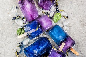 Butterfly pea flower popsicles
