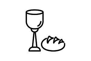 icon. Lord's Supper, Bread and Wine