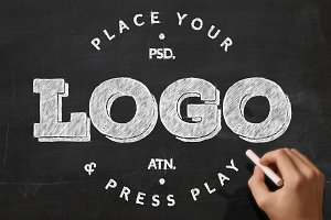 Chalkboard Logo Mockup and Action