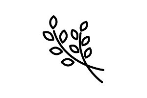 Web line icon. Branches, sprig black