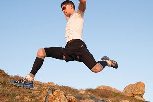 Man practicing trail running