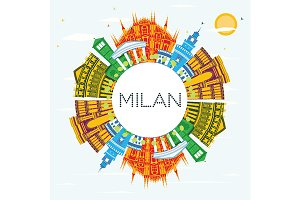 Milan Italy City Skyline with Color