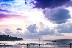 Sunset time at Jimbaran beach, Bali island.