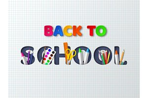 Back to school typography design with realistic school supplies. Paper cut style letters on white background. Vector illustration.