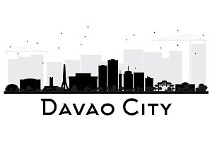 Davao City skyline black and white