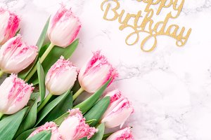 Pink tulips and Happy birthday sign