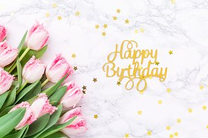 Birthday background with tulips