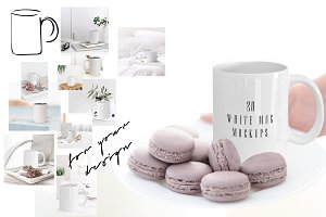 WHITE COFFEE MUG. 20 MOCKUPS