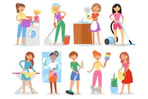 Housewife vector woman housekeeping and holding house clean with vacuum cleaner and washing machine or iron illustration set of female wifely household or casual routine isolated on white background