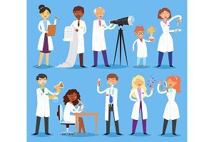 Scientist vector professional people character chemist or doctor researching medical experiment in scientific laboratory illustration set of woman or man with microscope isolated on background