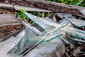 Broken glass in old wooden