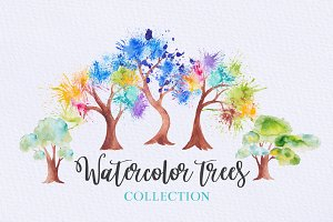 41 Watercolor trees collection