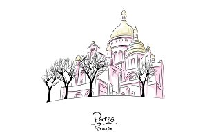 Vector sketch of Sacre Coeur in Paris, France