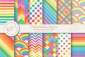 Rainbow Patterns Digital Paper