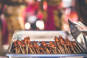 Sate Ayam or Chicken Satay, Indonesian food. Bali island.