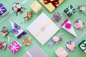 Wedding boxes, flowers, decorations.