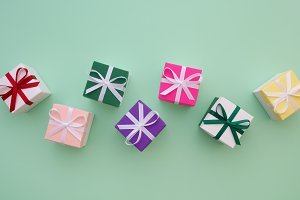 Gift boxes with ribbons. Top view.