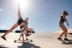 Females skateboarding