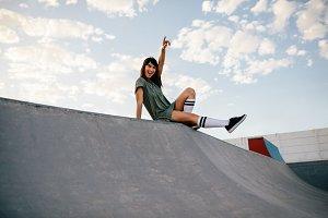 Female skateboarder enjoying