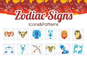 Zodiac Signs Icons&Patterns