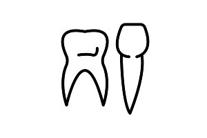 Web line icon. Teeth black on white
