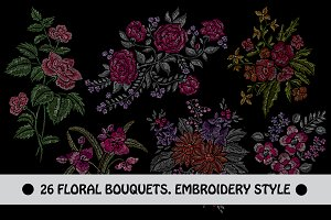 28 Flowers in Embroidery Style Set