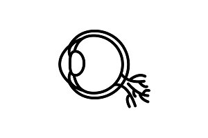 Web line icon. Eyeball black