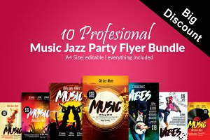 10 Music Concert Flyer Poster Bundle