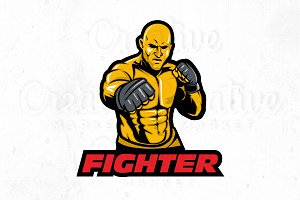Fighter Illustration Logo Templete