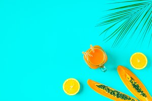 juice on a bright pastel background