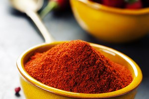 Paprika in a bowl and hot chili