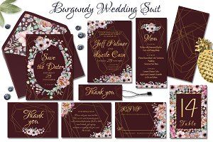 Burgundy floral & gold wedding suit