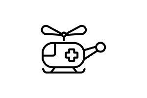 Web line icon. Helicopter ambulance