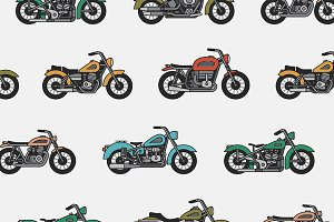 pattern with vintage motorcycles