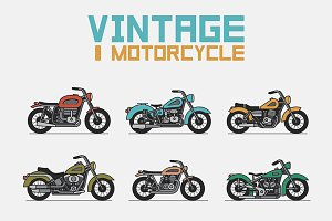set vintage motorcycle