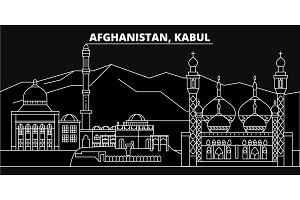 Kabul silhouette skyline. Afghanistan - Kabul vector city, afghan linear architecture, buildings. Kabul travel illustration, outline landmarks. Afghanistan flat icons, afghan line banner